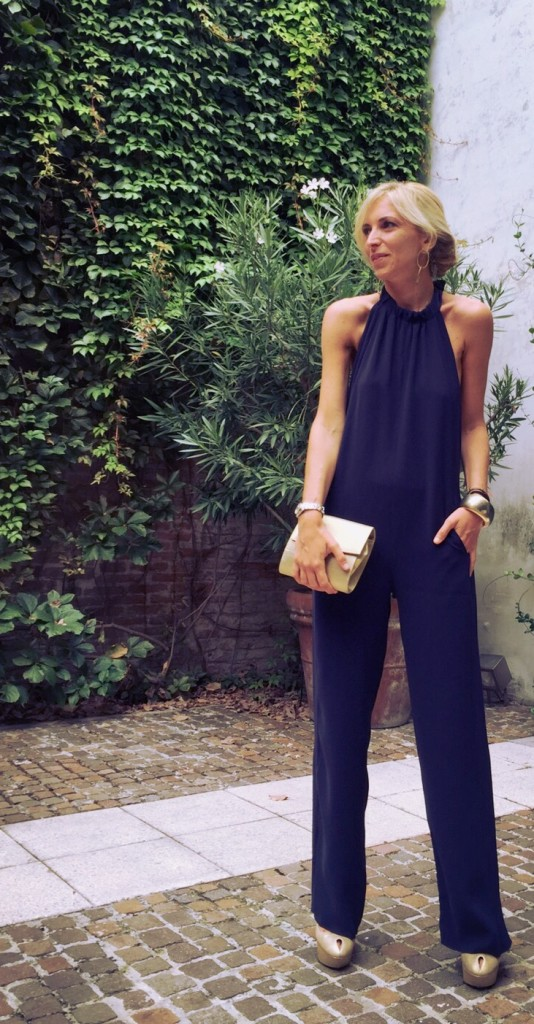 Wedding outfit - navy blue jumpsuit - golden coat - fall winter 2015