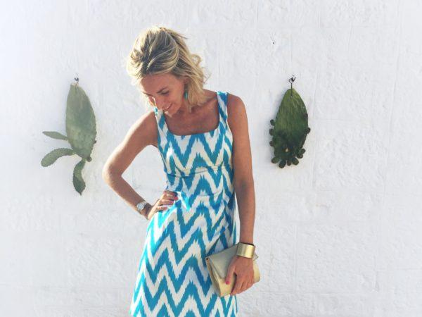 Melania Fumiko - Ikat turquoise dress